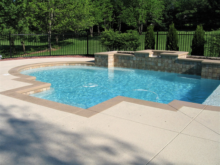 Concrete Pool Decks Indianapolis In Stamped Stained Spray Texture